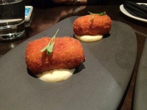 Potato and chorizo croquette with manchego foam