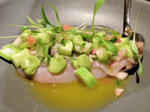 Kingfish ceviche, melons, cucumber, crispy wonton & prawn oil