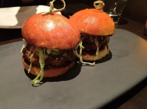 Wagyu beef sliders with onion, tomatillo relish & monterey jack cheese