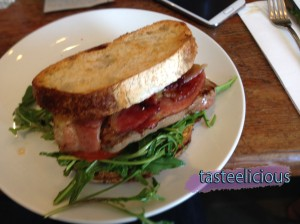Steak sandwich - grilled porterhouse, bacon, beetroot relish, tasty cheese, aioli, tomato, rocket