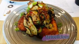 BBQ Succhini & Spice Crusted Silken Tofu Salad w Soy Vinegar Dressing